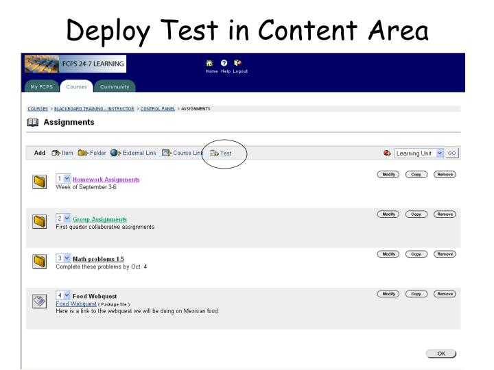 Deploy Test in Content Area