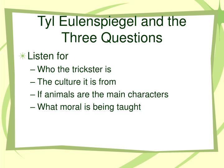 Tyl eulenspiegel and the three questions