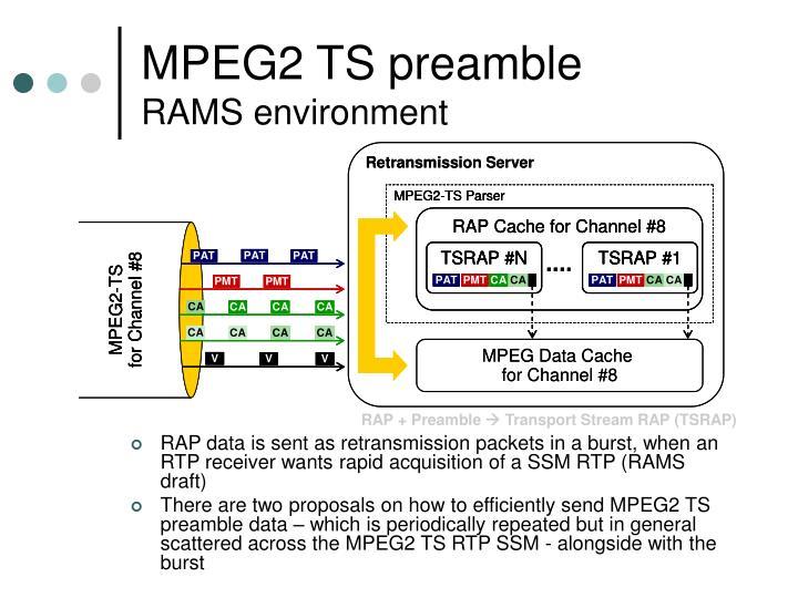 Mpeg2 ts preamble rams environment