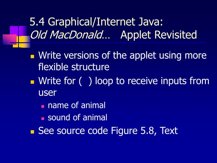 5.4 Graphical/Internet Java: