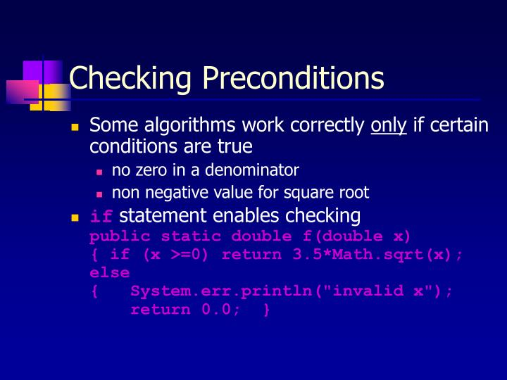 Checking Preconditions