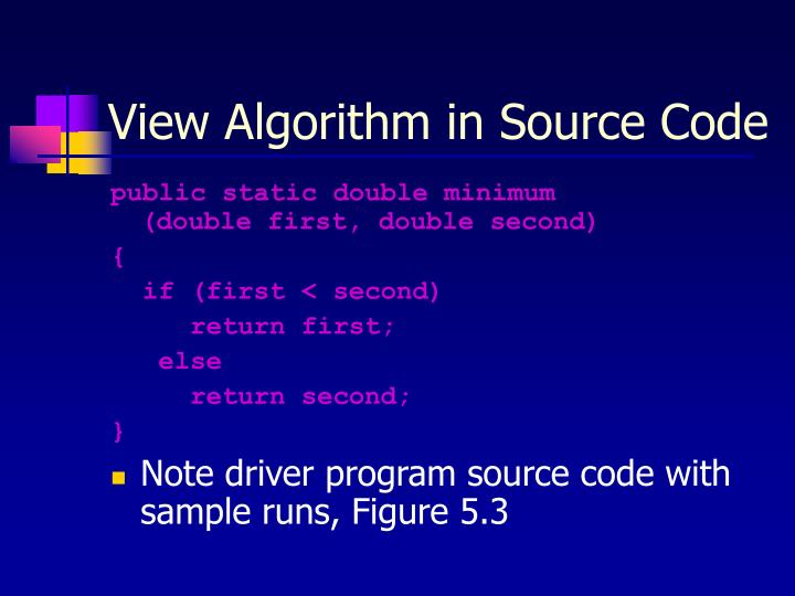 View Algorithm in Source Code