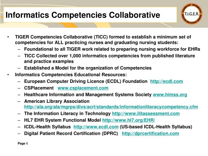 Informatics Competencies Collaborative