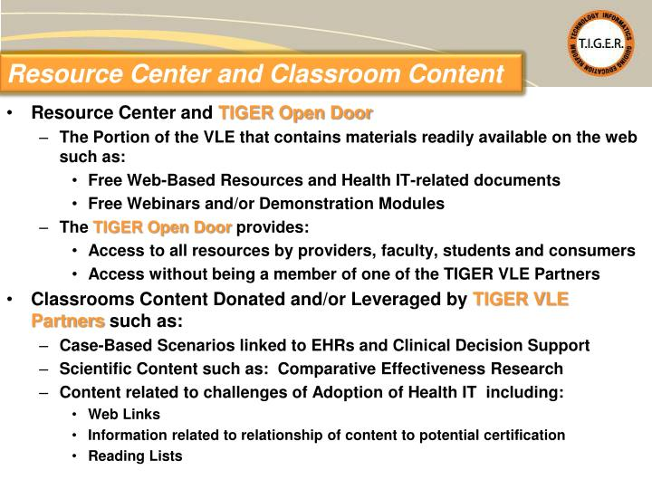 Resource Center and Classroom Content