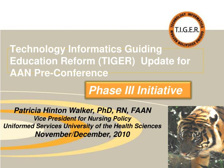 Technology Informatics Guiding Education Reform (TIGER)  Update for AAN Pre-Conference