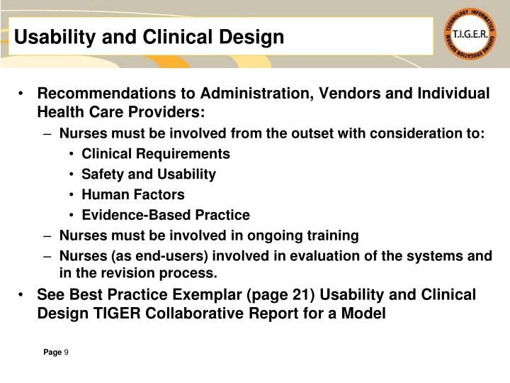 Usability and Clinical Design