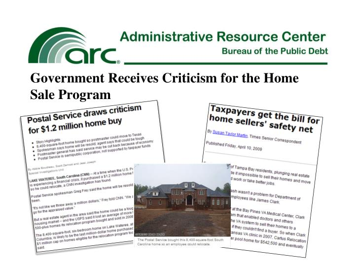 Government Receives Criticism for the Home Sale Program
