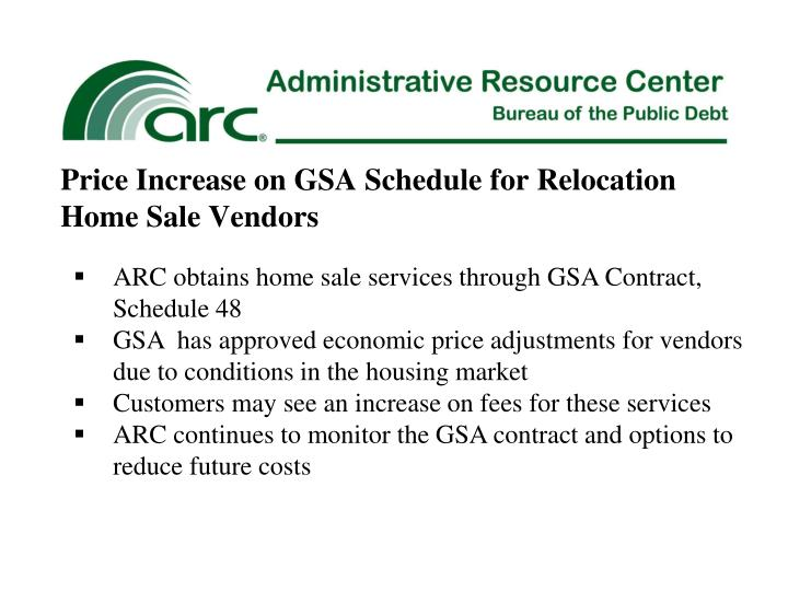 Price Increase on GSA Schedule for Relocation Home Sale Vendors