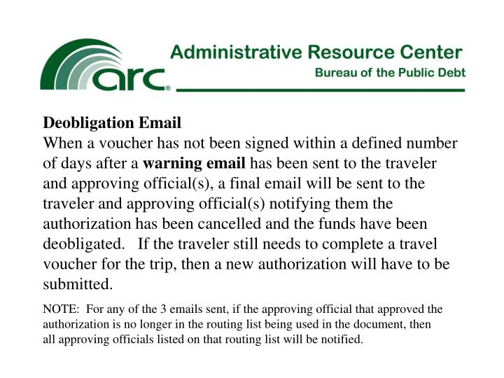 Deobligation Email