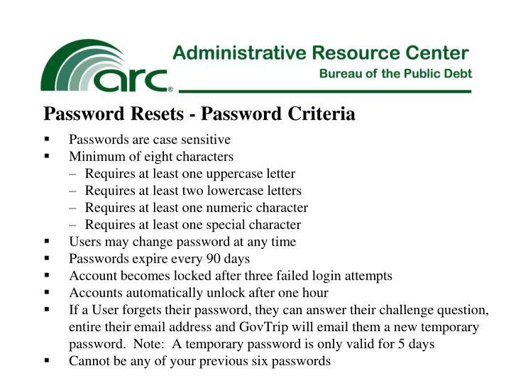 Password Resets - Password Criteria