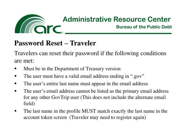 Password Reset – Traveler