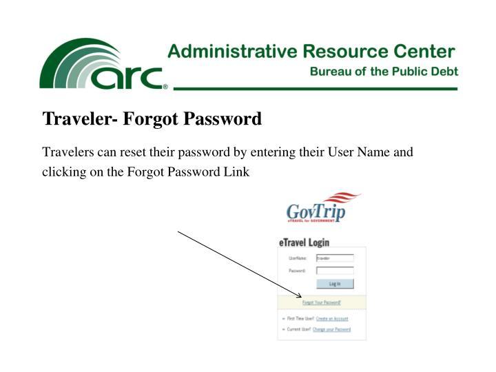 Traveler- Forgot Password