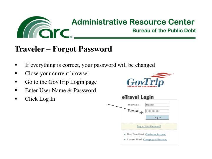 Traveler – Forgot Password