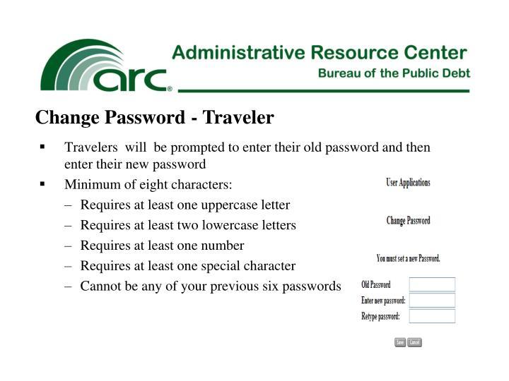 Change Password - Traveler