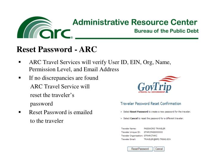 Reset Password - ARC