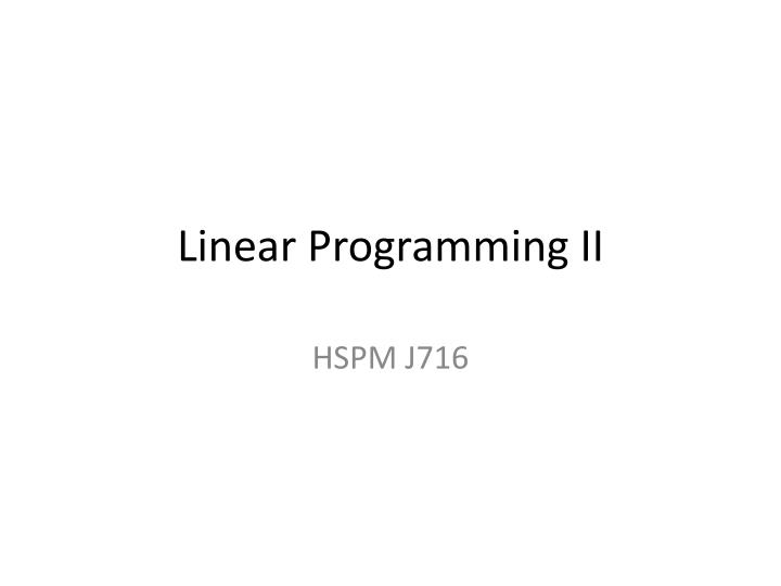 Linear programming ii