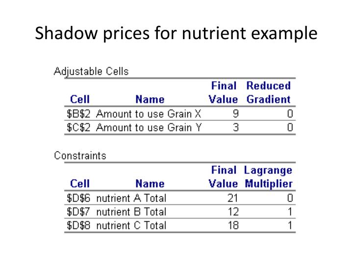 Shadow prices for nutrient example