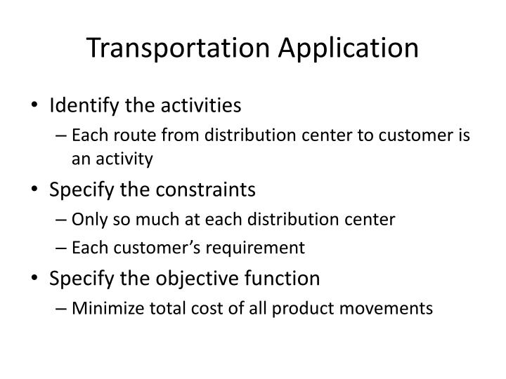 Transportation Application