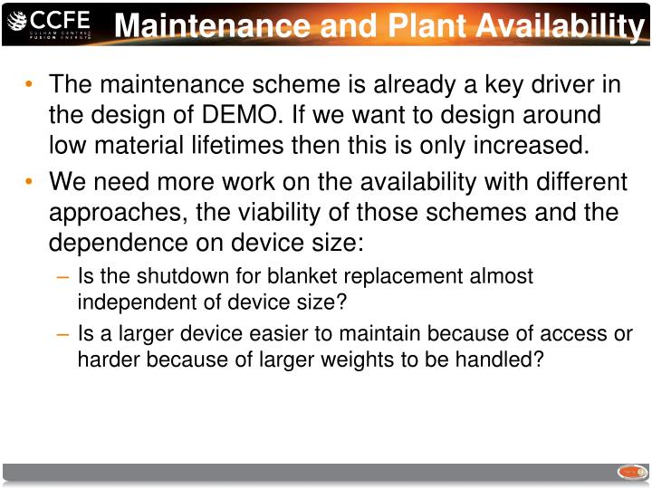 Maintenance and Plant Availability
