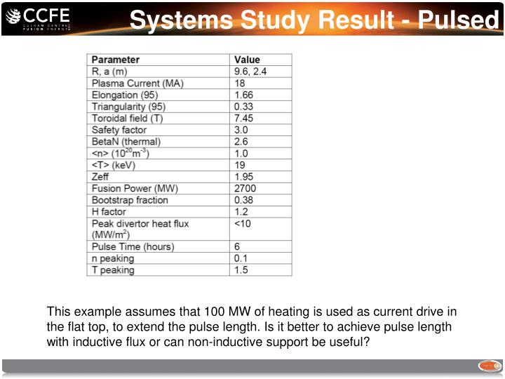 Systems Study Result - Pulsed
