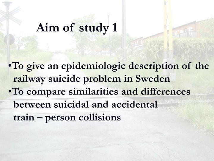 Aim of study 1