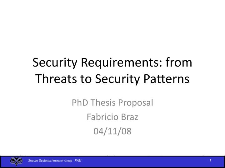 security requirements from threats to security patterns n.