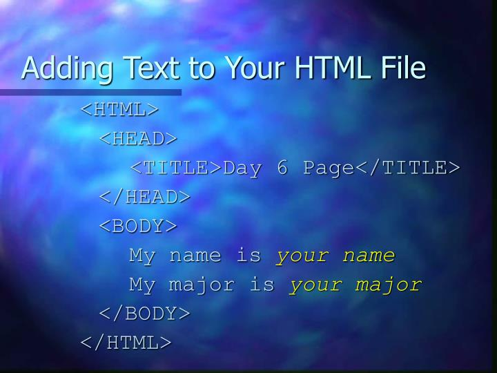 Adding Text to Your HTML File
