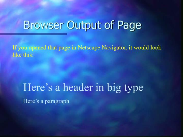 Browser Output of Page