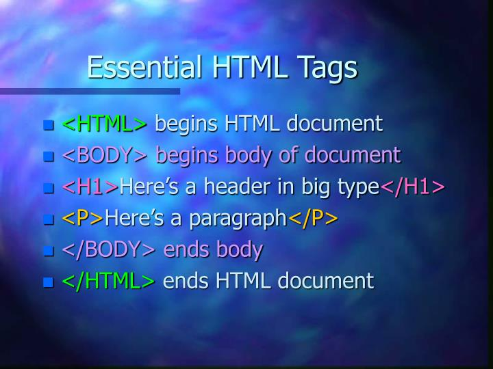 Essential HTML Tags