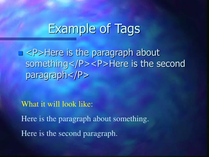 Example of Tags