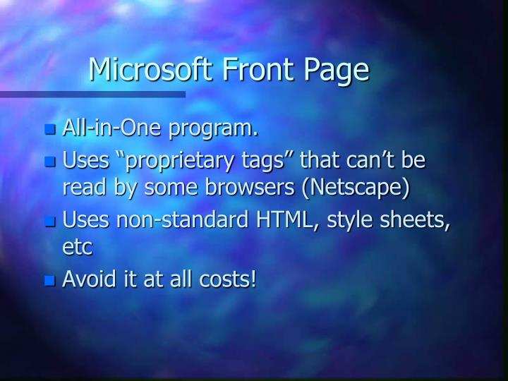 Microsoft Front Page
