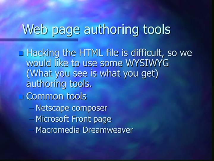 Web page authoring tools