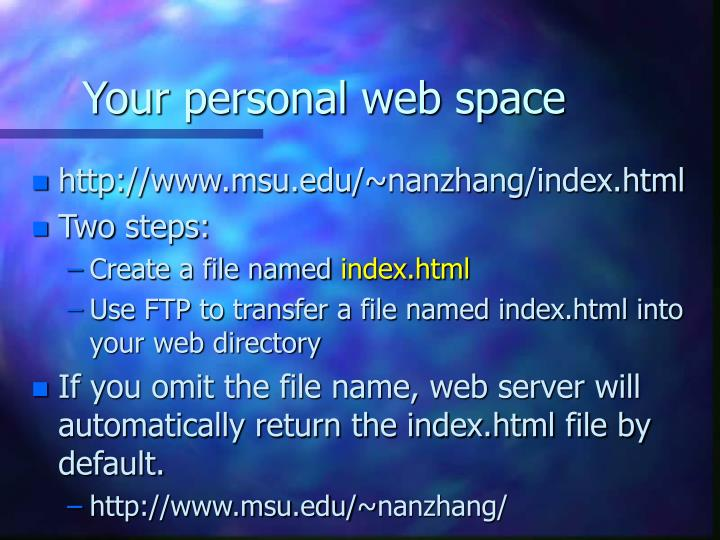 Your personal web space