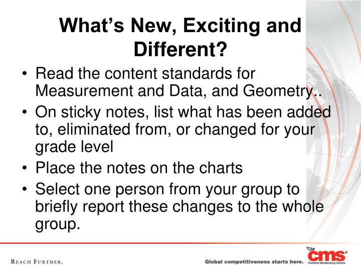 Read the content standards for Measurement and Data, and Geometry..