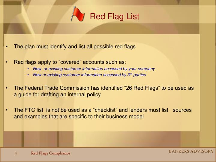Red Flag List