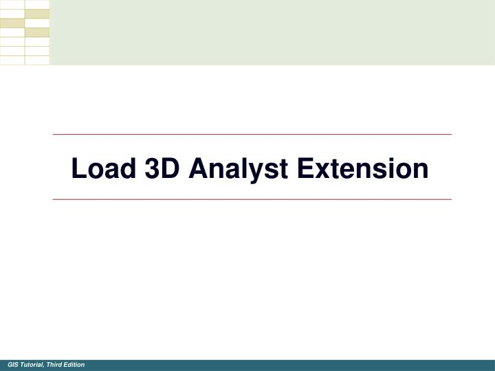 Load 3d analyst extension