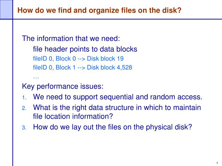 How do we find and organize files on the disk?