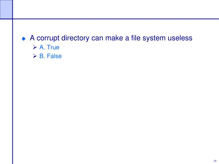 A corrupt directory can make a file system useless