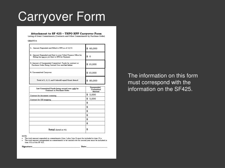 Carryover Form