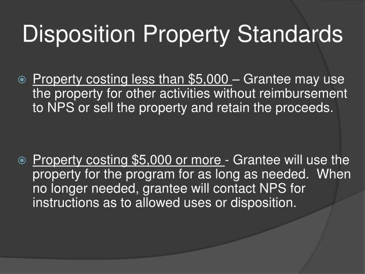 Disposition Property Standards