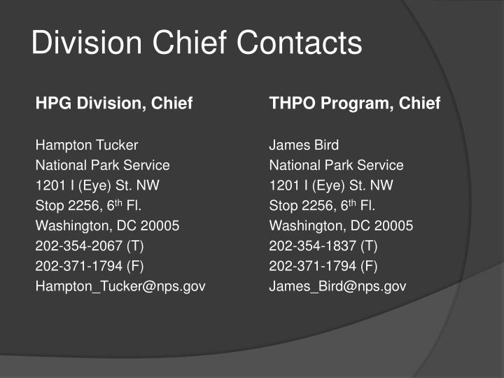 Division chief contacts