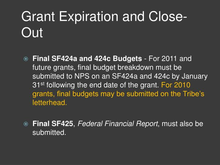 Grant Expiration and Close-Out