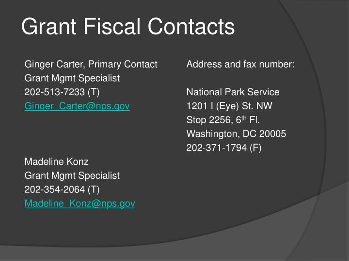 Grant Fiscal Contacts