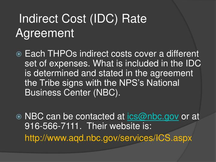 Indirect Cost (IDC) Rate Agreement