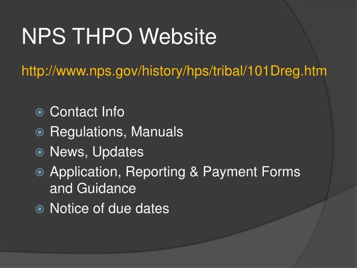 NPS THPO Website