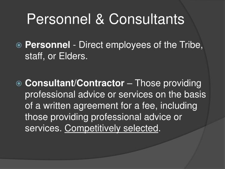 Personnel & Consultants