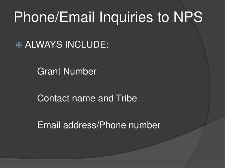 Phone/Email Inquiries to NPS