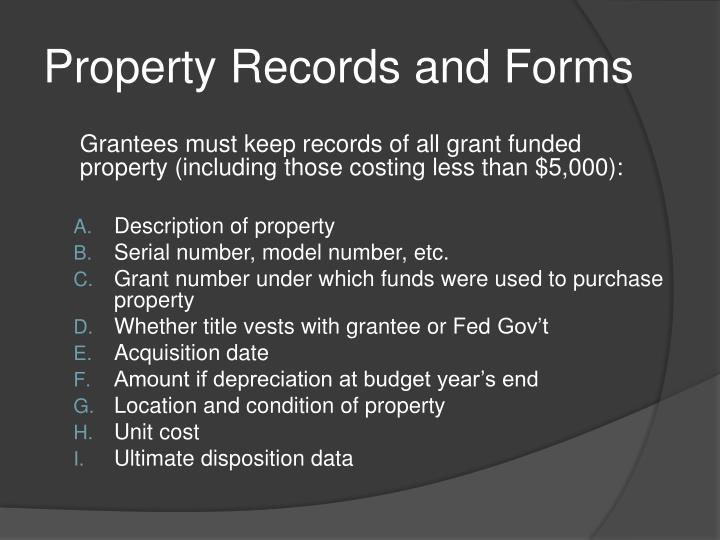 Property Records and Forms