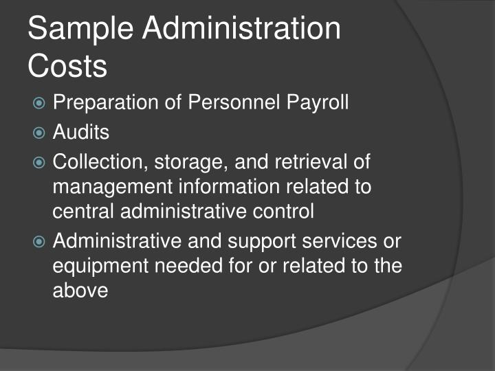 Sample Administration Costs