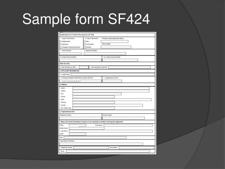 Sample form SF424